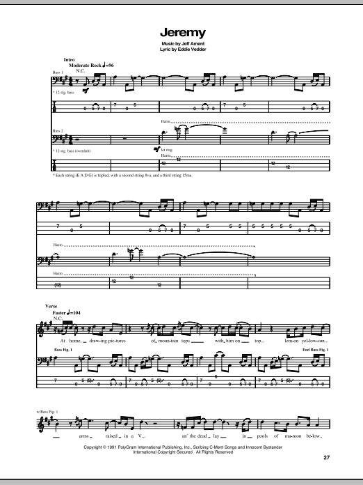 Tablature guitare Jeremy de Pearl Jam - Tablature Basse