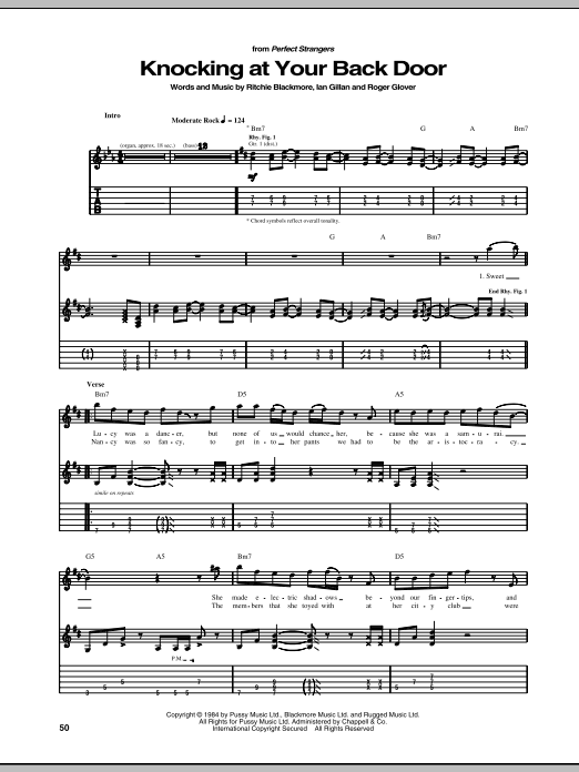 Tablature guitare Knocking At Your Back Door de Deep Purple - Tablature Guitare