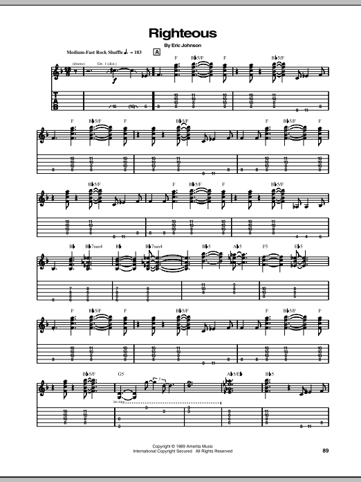 Righteous Sheet Music