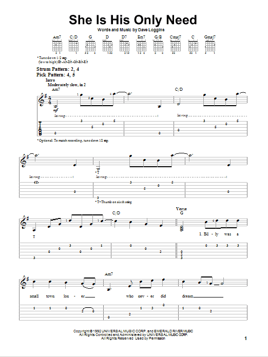 She Is His Only Need (Easy Guitar Tab)
