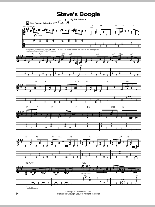 Tablature guitare Steve's Boogie de Eric Johnson - Tablature Guitare