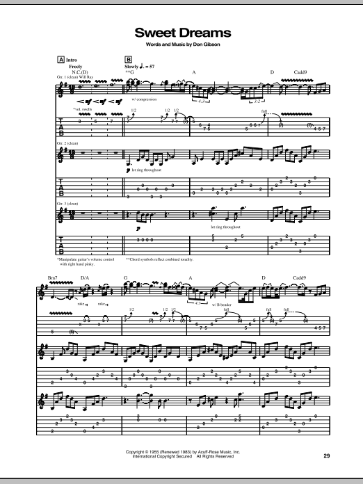 Sweet Dreams (Guitar Tab)