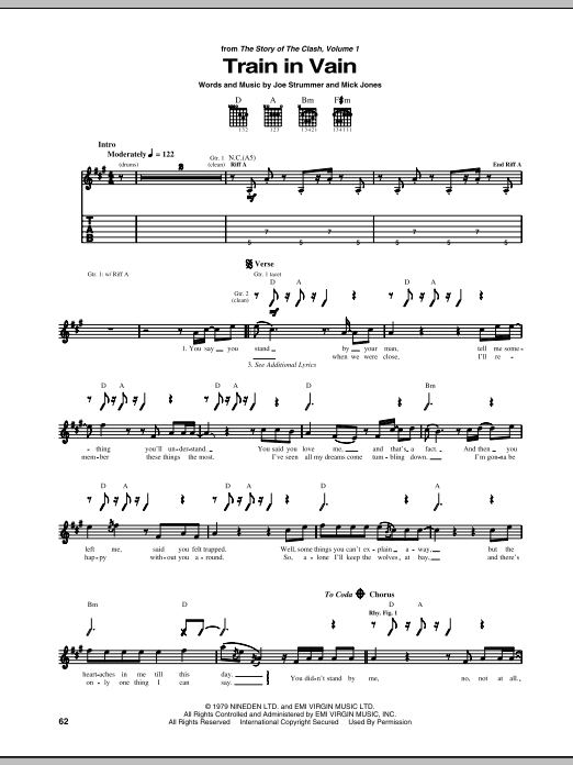 Train In Vain Sheet Music