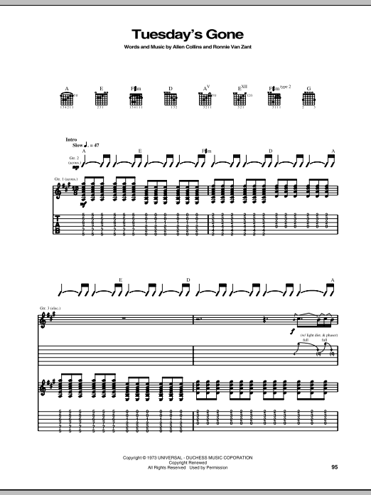 Tablature guitare Tuesday's Gone de Lynyrd Skynyrd - Tablature Guitare