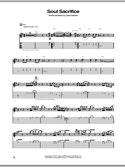 Soul Sacrifice Sheet Music