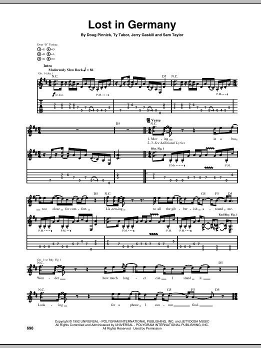 Tablature guitare Lost In Germany de King's X - Tablature Guitare