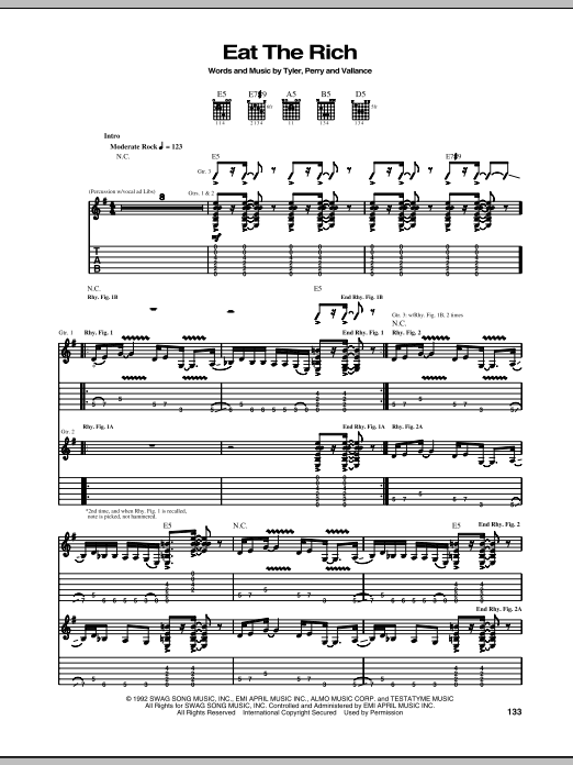 Tablature guitare Eat The Rich de Aerosmith - Tablature Guitare