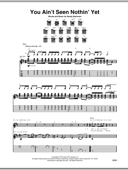 You Ain't Seen Nothin' Yet (Guitar Tab)