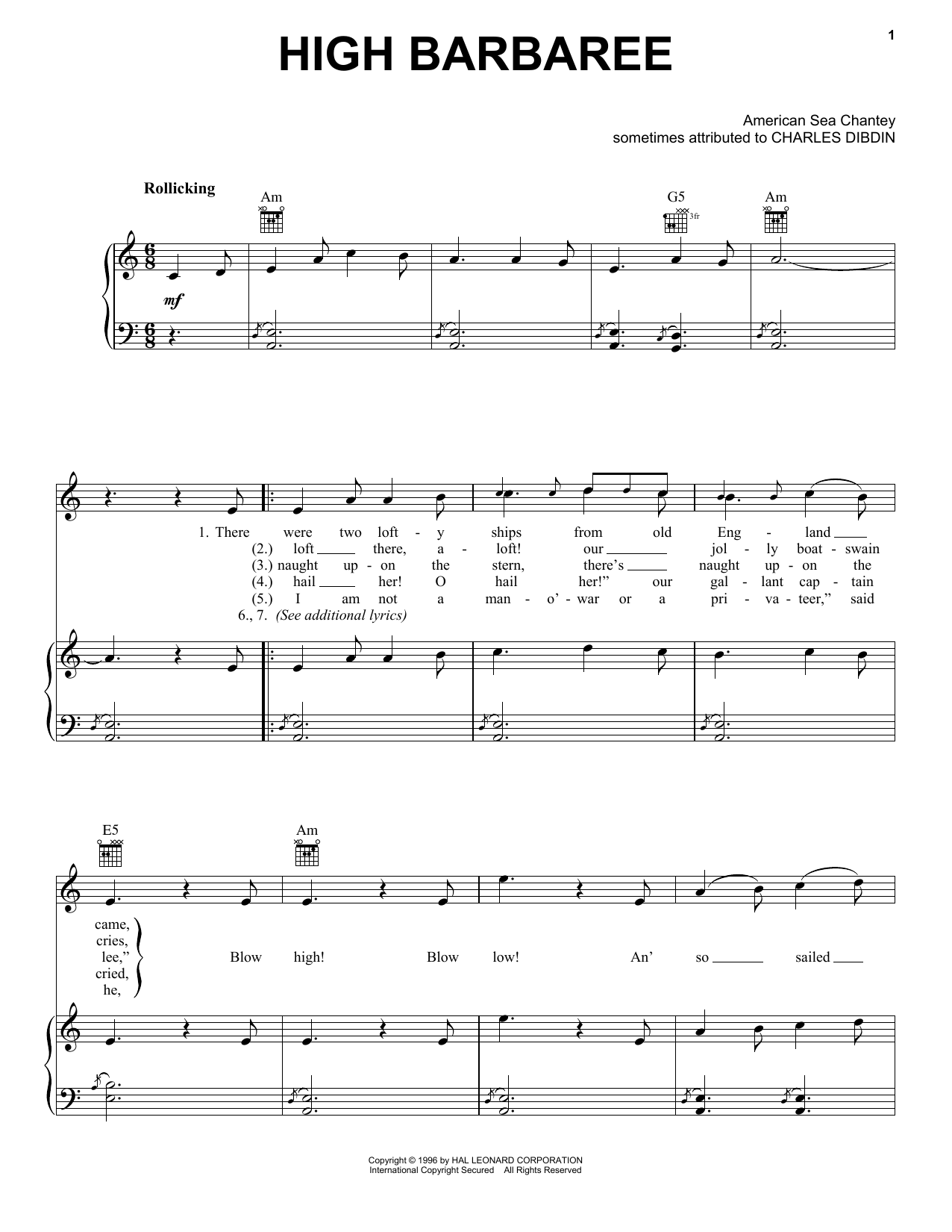 High Barbaree Sheet Music