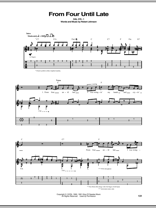 Tablature guitare From Four Until Late de Robert Johnson - Tablature Guitare