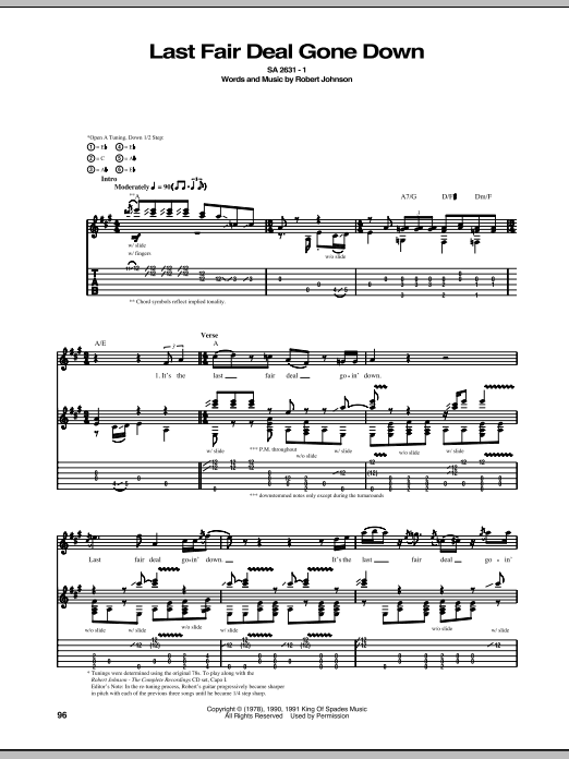 Last Fair Deal Gone Down (Guitar Tab)