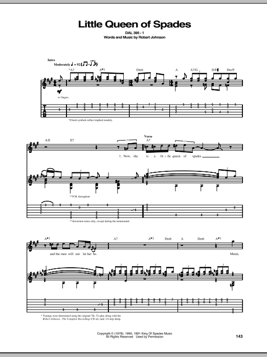 Little Queen Of Spades (Guitar Tab)