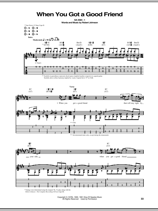 Tablature guitare When You Got A Good Friend de Robert Johnson - Tablature Guitare