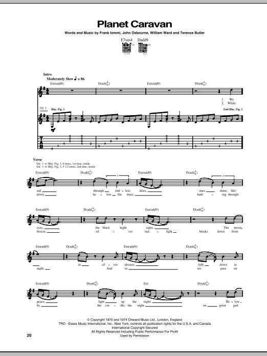 Tablature guitare Planet Caravan de Black Sabbath - Tablature Guitare