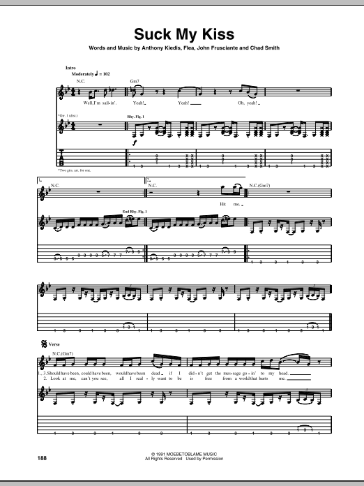 Suck My Kiss Sheet Music