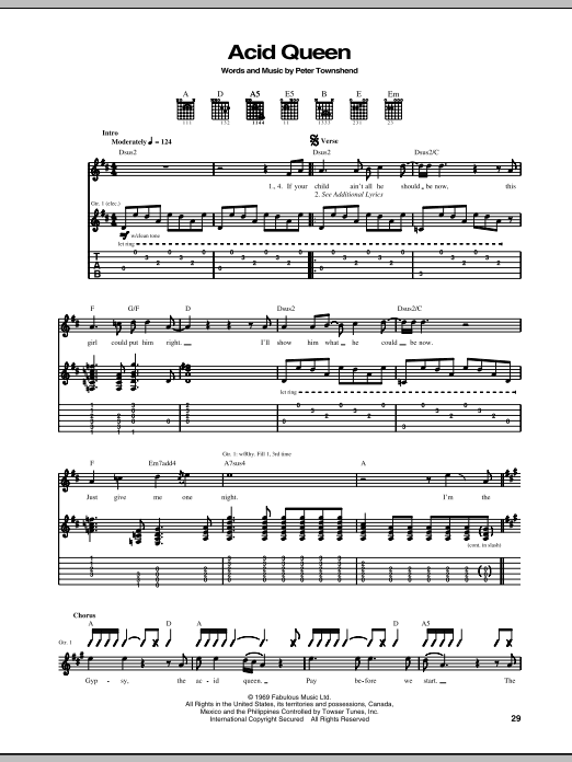 Acid Queen Sheet Music