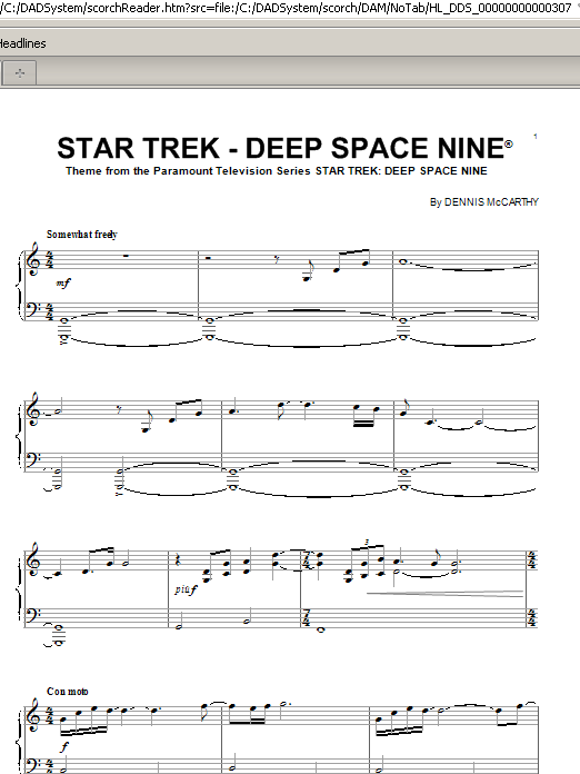 Partition piano Star Trek - Deep Space Nine(R) de Dennis McCarthy - Piano Solo