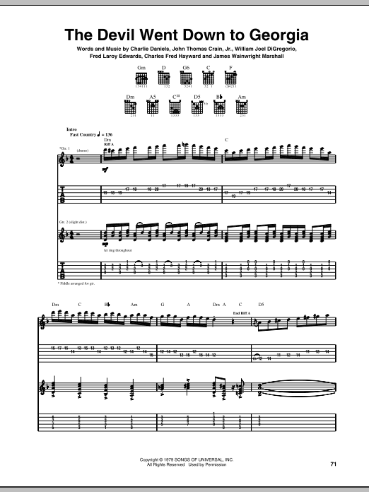 Tablature guitare The Devil Went Down To Georgia de Charlie Daniels Band - Tablature Guitare