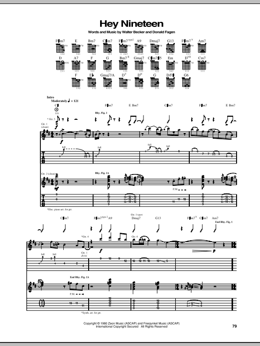 Tablature guitare Hey Nineteen de Steely Dan - Tablature Guitare