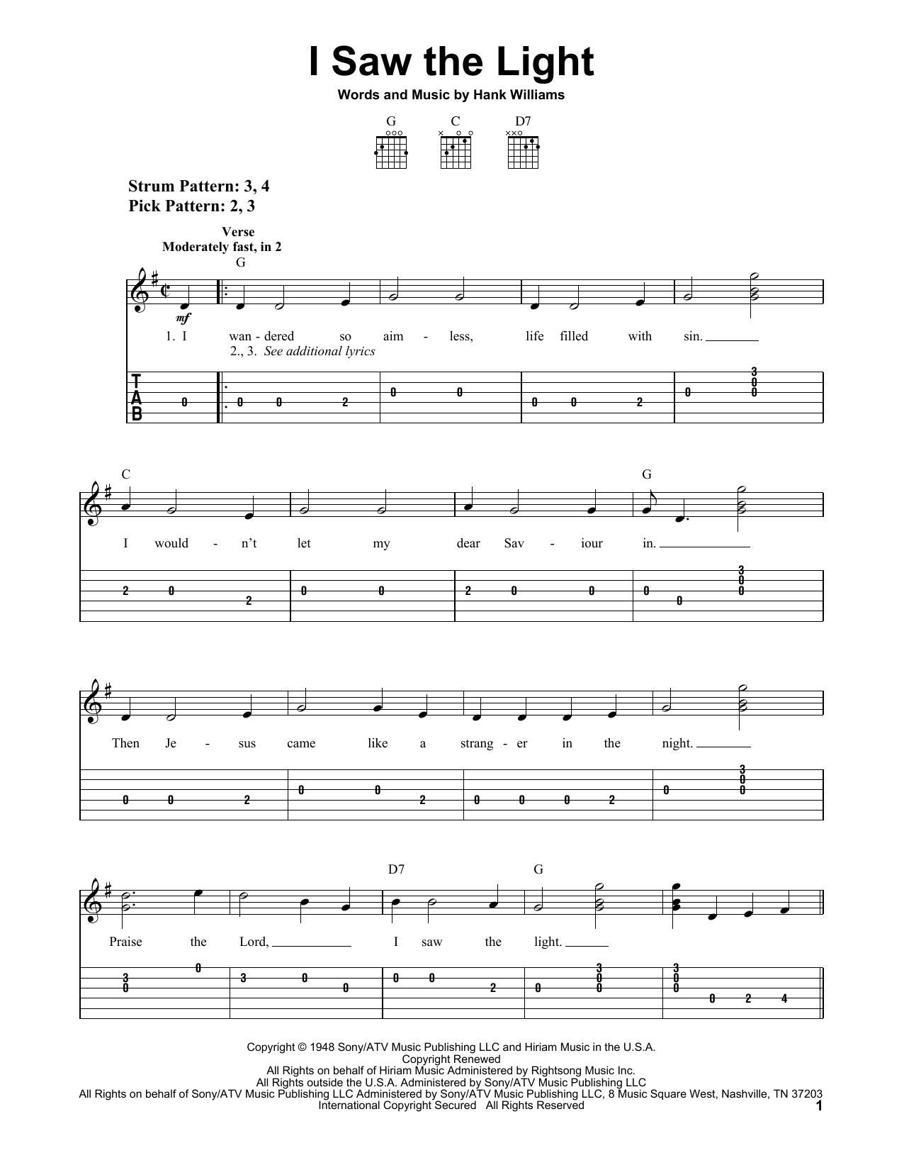 Tablature guitare I Saw The Light de Hank Williams - Tablature guitare facile
