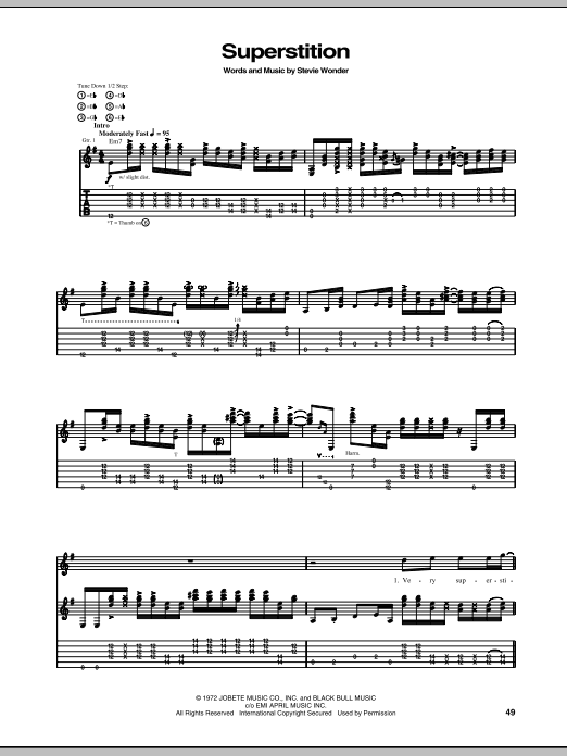 Superstition by Stevie Ray Vaughan Drums Transcription Digital Sheet Music