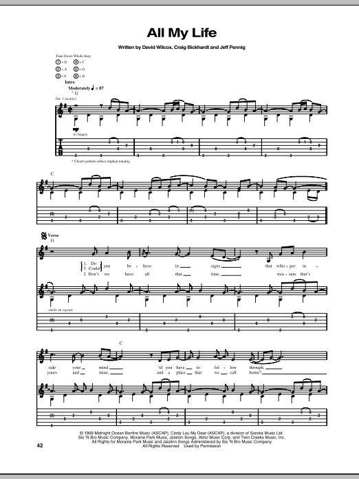 All My Life (Guitar Tab)