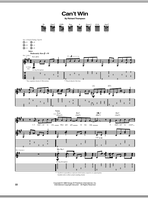 Can't Win Sheet Music