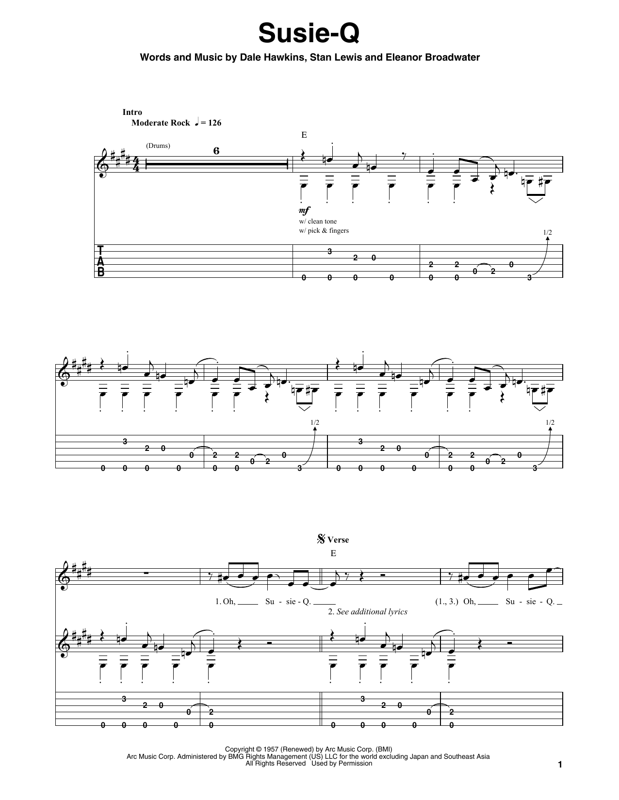 Tablature guitare Susie-Q de Creedence Clearwater Revival - Playback Guitare