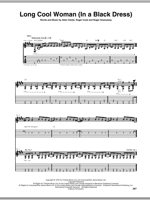 Long Cool Woman (In A Black Dress) by The Hollies - Guitar Tab ...