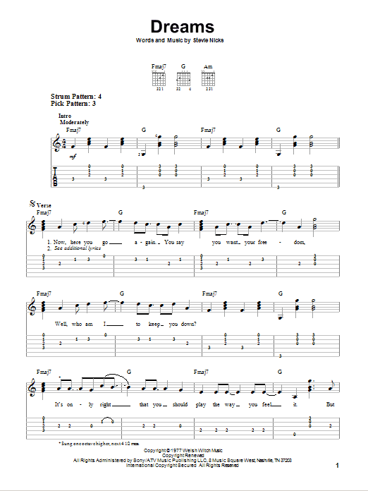 Dreams By Fleetwood Mac Easy Guitar Tab Guitar Instructor