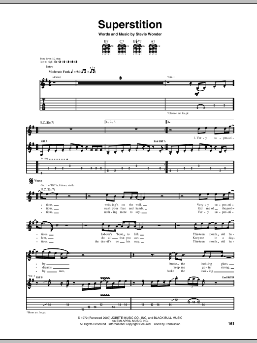 Superstition (Guitar Tab)