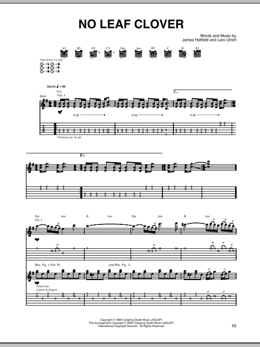 Tablature guitare No Leaf Clover de Metallica - Tablature Guitare