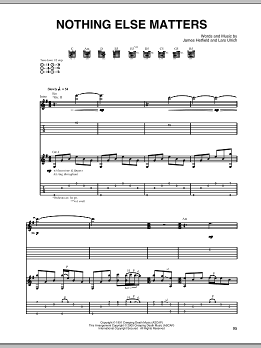 Nothing Else Matters Sheet Music Metallica Guitar Tab