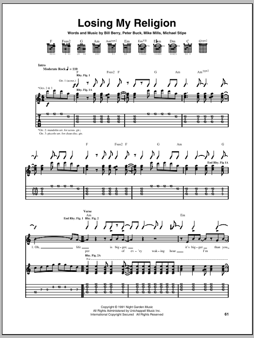 Losing My Religion (Guitar Tab)