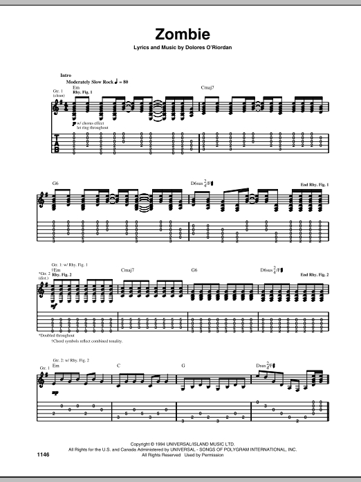 Zombie Guitar Tab by The Cranberries (Guitar Tab – 68925)