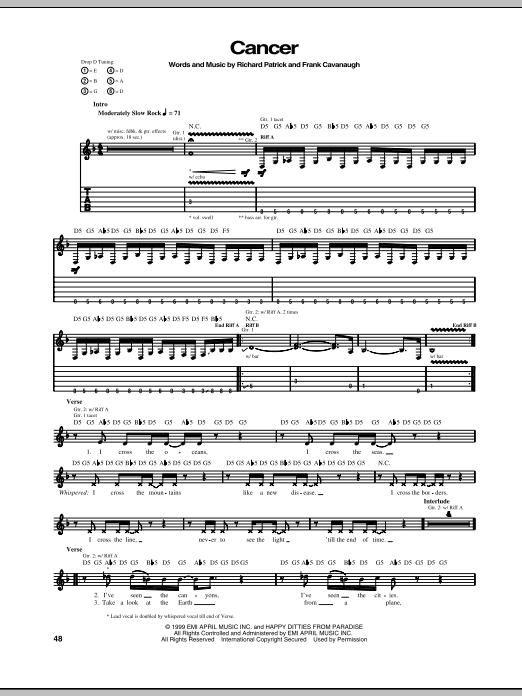 Tablature guitare Cancer de Filter - Tablature Guitare