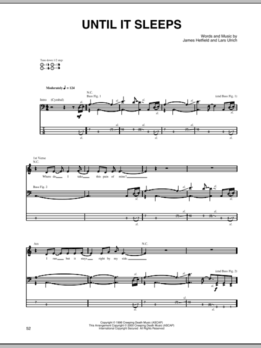 Drum metallica drum tabs : Until It Sleeps by Metallica - Bass Tab - Guitar Instructor