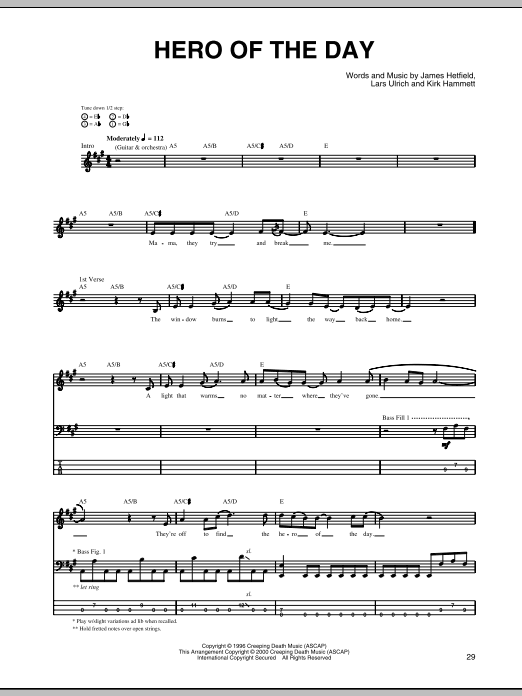 Tablature guitare Hero Of The Day de Metallica - Tablature Basse