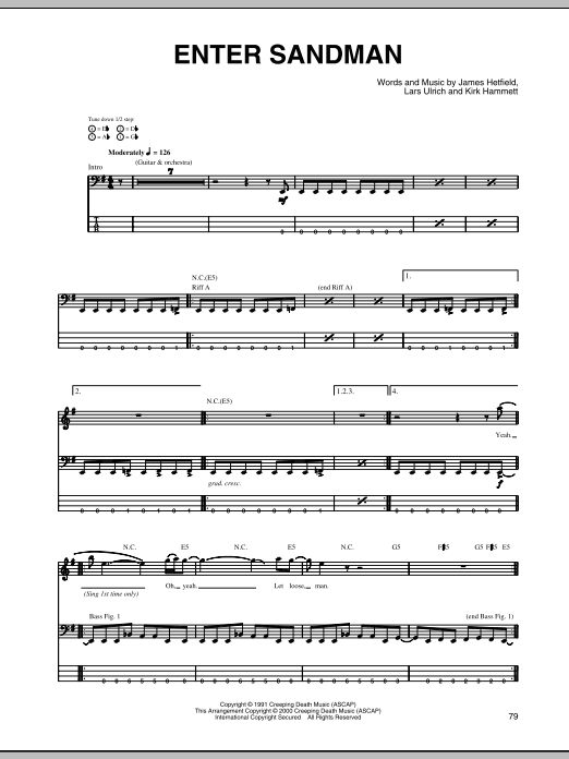 Enter Sandman (Bass Guitar Tab)