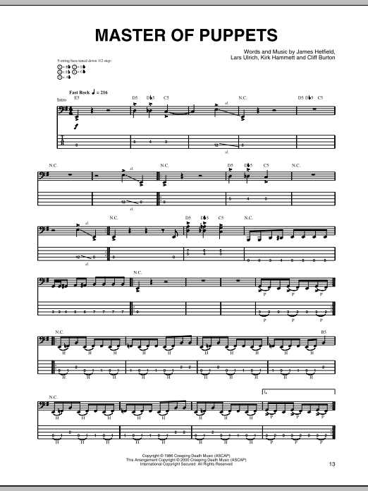 Master Of Puppets Bass Guitar Tab by Metallica (Bass ...
