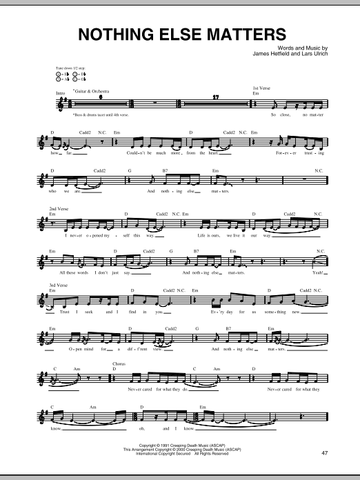 Nothing Else Matters Sheet Music