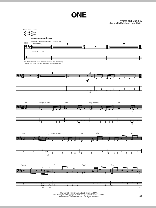 One (Bass Guitar Tab)