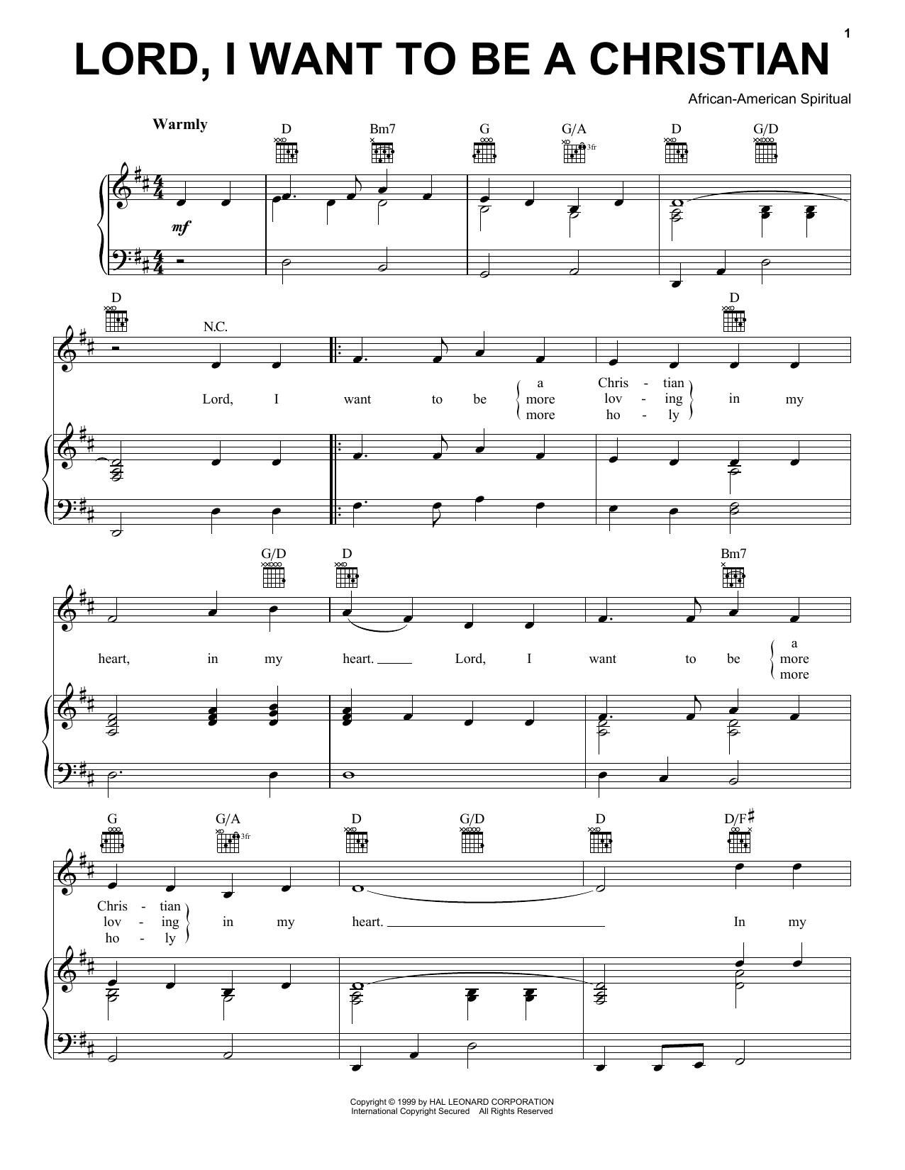 Lord, I Want To Be A Christian Sheet Music