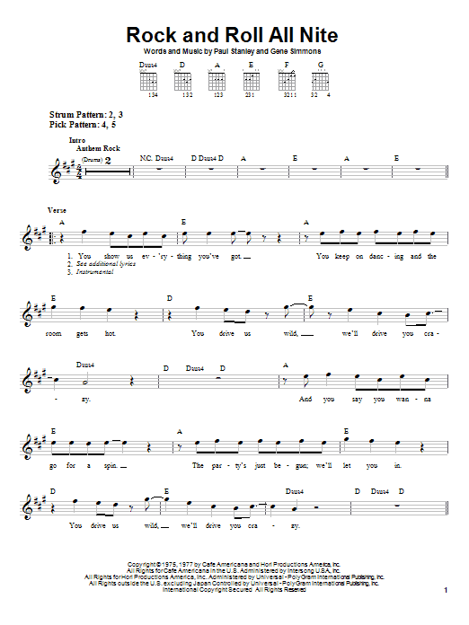 Tablature guitare Rock And Roll All Nite de KISS - Tablature guitare facile