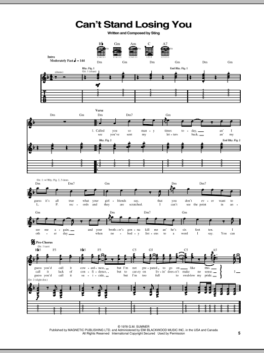 Can't Stand Losing You (Guitar Tab)