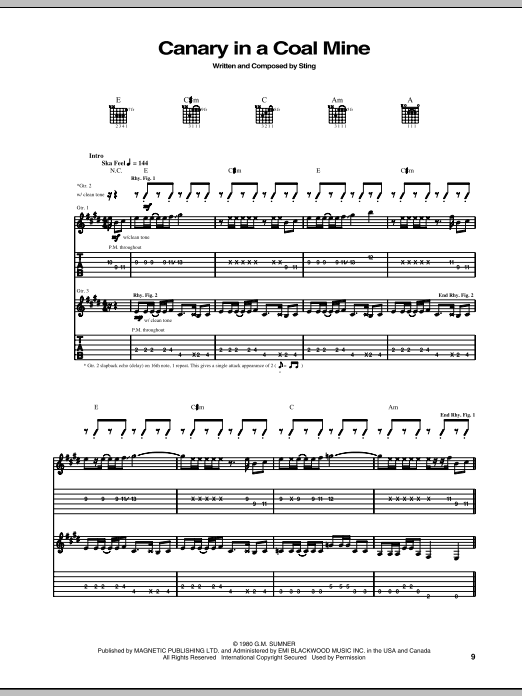 Canary In A Coalmine Sheet Music