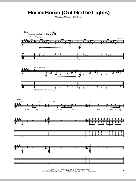 Boom Boom (Out Go The Lights) Sheet Music