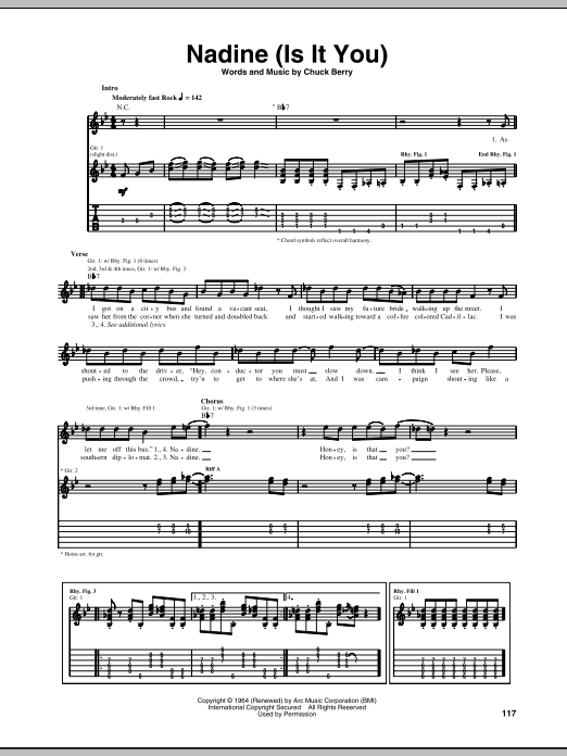Tablature guitare Nadine (Is It You) de Chuck Berry - Tablature Guitare
