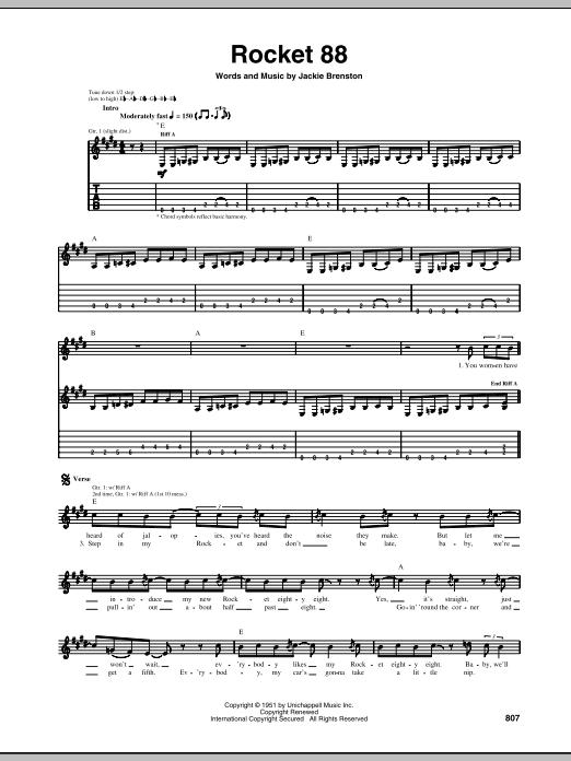 Tablature guitare Rocket 88 de Jackie Brenston - Tablature Guitare