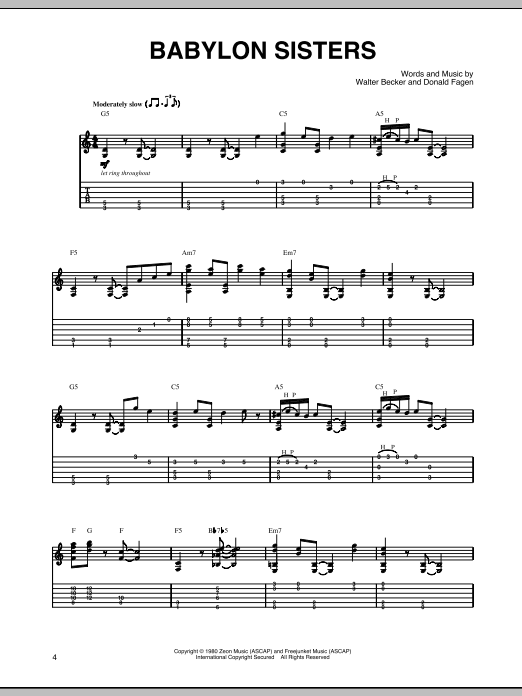 Tablature guitare Babylon Sisters de Steely Dan - Tablature Guitare